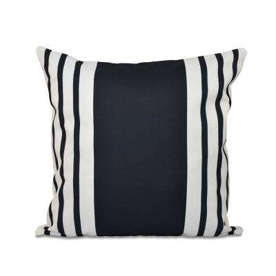 16 in. x 16 in. Big and Bold Stripe Decorative Pillow in Black