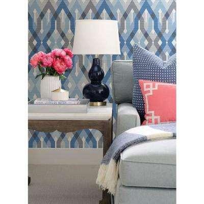 Harbour Blue Lattice Wallpaper