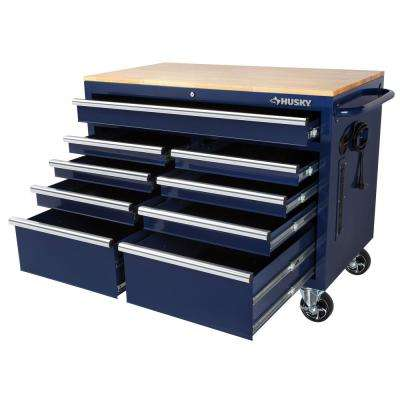 46 in. W x 24.5 in. D 9-Drawer Tool Chest Mobile Workbench with Solid Wood Top in Gloss Blue