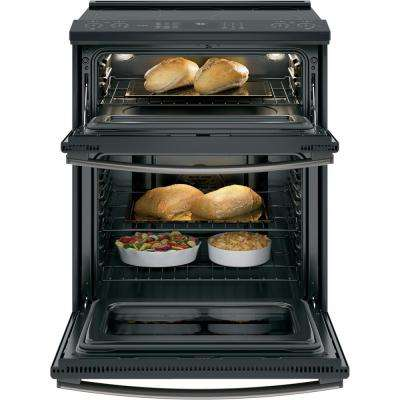Profile 6.6 cu. ft. Slide-In Smart Double Oven Electric Range with Self-Cleaning Convectin in Black Slate