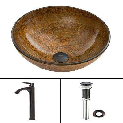 Glass Vessel Sink in Cappuccino Swirl and Linus Faucet Set in Antique Rubbed Bronze