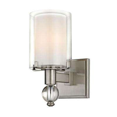 Sofia 1-Light Satin Nickel Sconce with Clear Outer Glass and Opal Inner Glass