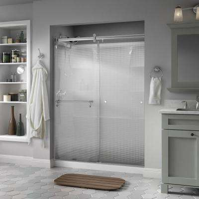 Portman 60 in. x 71 in. Semi-Frameless Contemporary Sliding Shower Door in Chrome with Droplet Glass