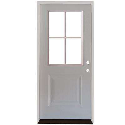Premium 4 Lite 1-Panel Primed White Steel Prehung Front Door with 4 in. Wall