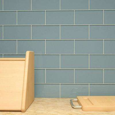 Slate 3 in. x 6 in. x 8 mm Glass Subway Tile (5.5 sq. ft./case)