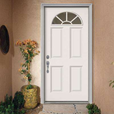 36 in. x 80 in. Fan Lite Primed Steel Prehung Right-Hand Inswing Front Door w/ Brickmould