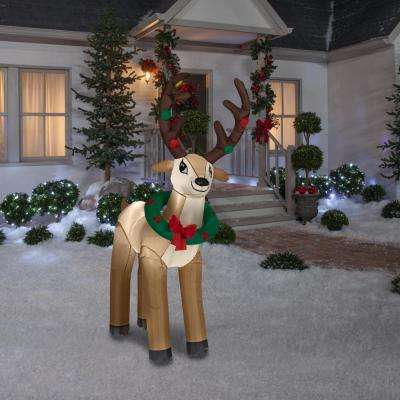 6 ft. Life Size Inflatable Reindeer with Wreath