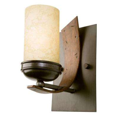 Aizen 1-Light Artisanal Hand-Worked Chrome Vanity Light with Aspen Bronze Accents and Tea Stained Glass