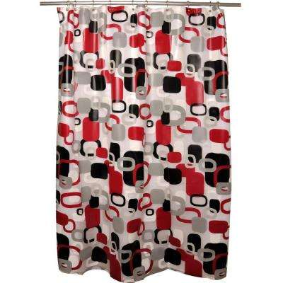 Hip Squares Red Shower Curtain