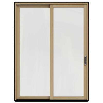 71.25 in. x 95.5 in. W-2500 Black Prehung Right-Hand Sliding 1 Lite Pine Patio Door with Unfinished Interior