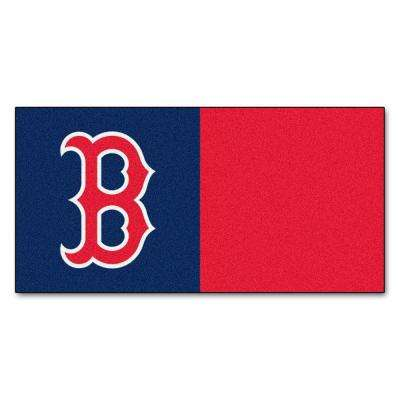 MLB - Boston Red Sox Navy Blue and Red Nylon 18 in. x 18 in. Carpet Tile (20 Tiles/Case)