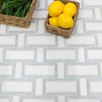 Mingle Ming Green Interlocking 12 7/8 in. x 12 3/4 in. Marble Mosaic Tile (1.14 sq. ft.)