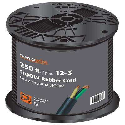 250 ft. 12/3 300-Volt Black SJOOW Cord