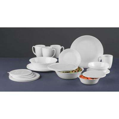 24-Piece Traditional White Glass Dinnerware Set (Service for 4)