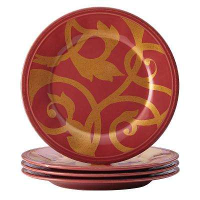 Dinnerware Gold Scroll 4-Piece Round Appetizer Plate Set in Cranberry Red