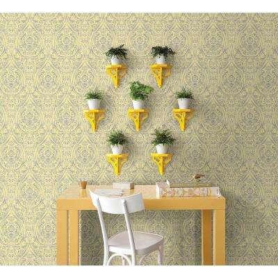 Gypsy Yellow Damask Wallpaper Sample