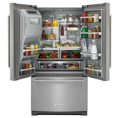 26.8 cu. ft. French Door Refrigerator in Stainless Steel with Platinum Interior and Exterior Ice and Water