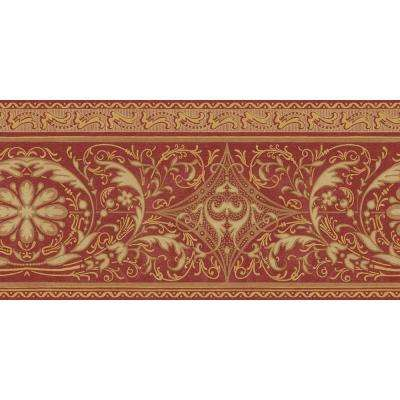 10.25 in. x 15 ft. Red and Gold Filigree Scroll Border