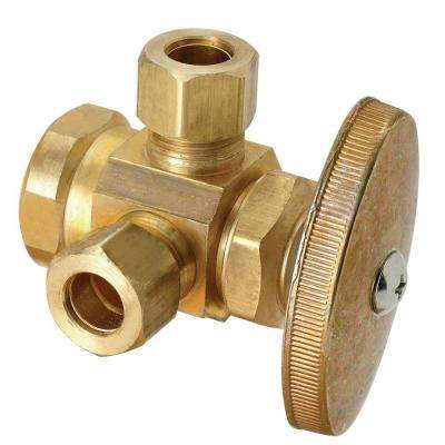 1/2 in. FIP Inlet x 3/8 in. O.D. Compression x 3/8 in. O.D. Compression Dual Outlet Multi-Turn Valve