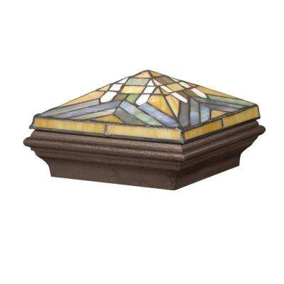 5 in. x 5 in. Bronze Composite Tiffany-Style Mission Post Cap