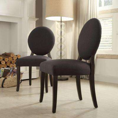 Easley Round Back Fabric Side Chair in Charcoal (Set of 2)