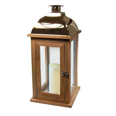 Lantern 7.5 in. x 17 in. Wooden Brown Lantern Copper Roof with LED Candle