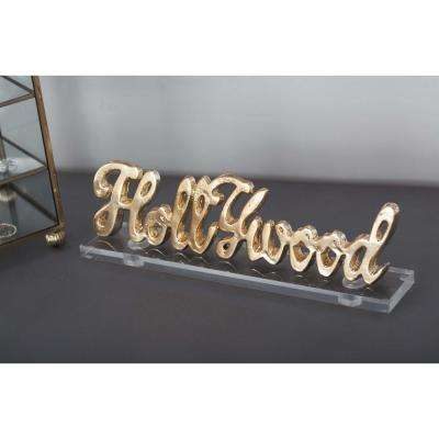 "11 in. x 3 in. ""Hollywood"" Gold and Silver Aluminum Cutouts with Acrylic Base (Set of 2)"