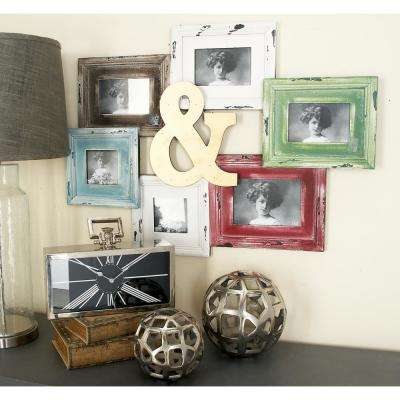 "6-Openings Assorted White, Brown, Blue, Green and Red ""Ampersand"" Picture Frame Collage"