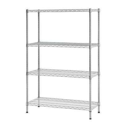 36 in. W x 54 in. H x 14 in. D Multi-Purpose 4-Tier Wire Shelving, Chrome