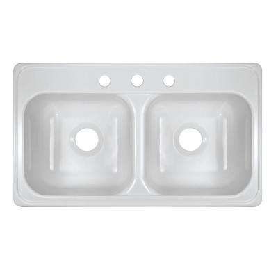 Style J Top Mount Acrylic 33x19x9 in. 3-Hole 50/50 Double Bowl Kitchen Sink in White