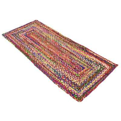 Braided Chindi Multi 2' 6 x 6' 0 Runner Rug