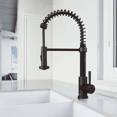 Edison Single-Handle Pull-Down Sprayer Kitchen Faucet in Matte Black