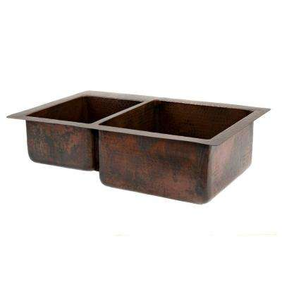 Under Counter/Surface-Mount Hammered Copper 33 in. 0-Hole Double Bowl 40/60 Kitchen Sink in Oil Rubbed Bronze