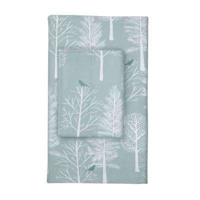 Snow Tree Flannel Fitted Sheet