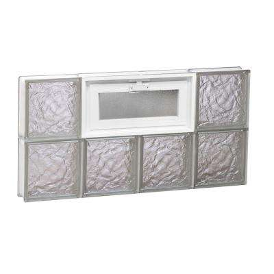 Frameless Ice Pattern Vented Glass Block Window