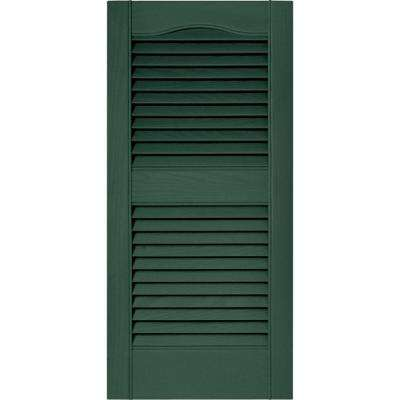 15 in. x 31 in. Louvered Vinyl Exterior Shutters Pair in #028 Forest Green