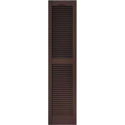 15 in. x 64 in. Louvered Vinyl Exterior Shutters Pair in #009 Federal Brown