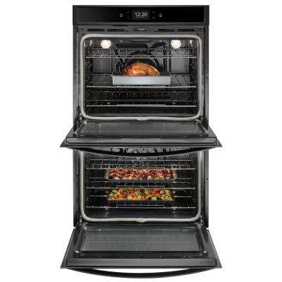 27 in. Smart Double Electric Wall Oven with True Convection Cooking in Black