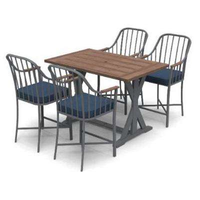 Bedford Farmhouse 5-Piece Steel Rectangle Balcony Height Outdoor Patio Dining Set with Blue Cushions