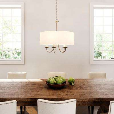 21.625 in. 5-Light Antique Bronze Kitchen Chandelier with White Linen Shade