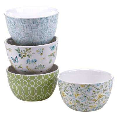 Greenhouse Blue and Green Patterned Ice Cream and Cereal Bowl (Set of 4)