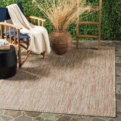 Courtyard Natural/Black 8 ft. x 11 ft. Indoor/Outdoor Area Rug