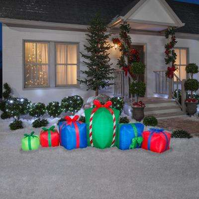 3 ft. H x 9 ft. W Pre-Lit Inflatable Holiday Gifts Yard Decoration