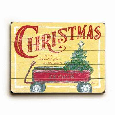 "18 in. x 24 in. ""Christmas Wagon by FLAVIA ""Planked Wood"" Wall Art"