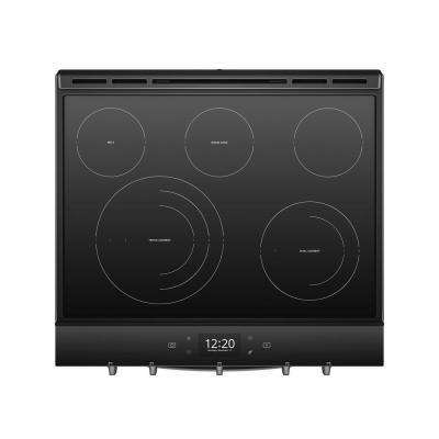 6.4  cu. ft. Smart Slide-In Electric Range with FROZEN BAKE Technology in Fingerprint Resistant Black Stainless