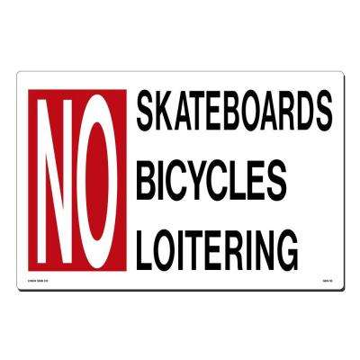 18 in. x 12 in. Red and Black on White Plastic No Skateboards - Bicycling - Loitering Sign