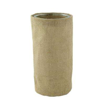 8-1/4 in. Round Burlap with Glass Cylinder