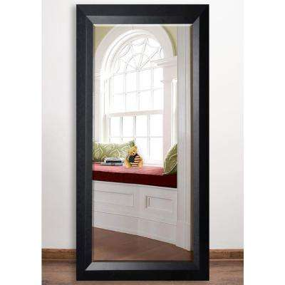32 in. x 65.5 in. Solid Black Angle Beveled Full Body Mirror