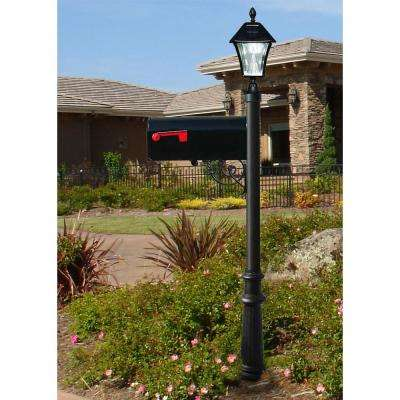Lewiston Mailbox Collection Post with Economy #1 Mailbox, Fluted Base and Solar Lamp in Black