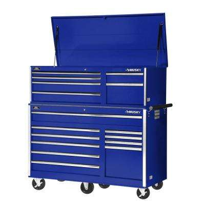 56 in. 10-Drawer Rolling Cabinet Tool Chest in Blue